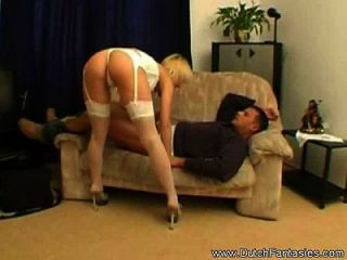 blonde milf in Dessous gefickt