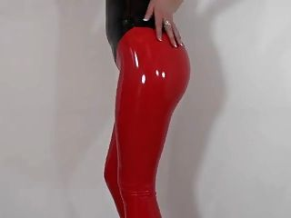 sexy rote flüssige Latex-Leggings