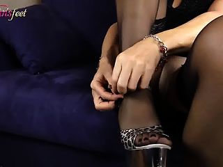 blonde Transgender Nylon Footjob